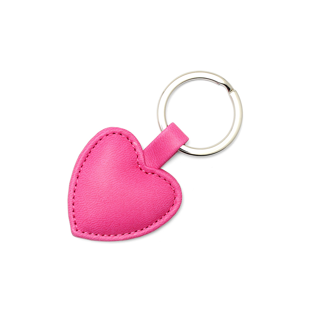 Hot Pink Heart Shaped Key Fob, in a soft touch vegan finish.