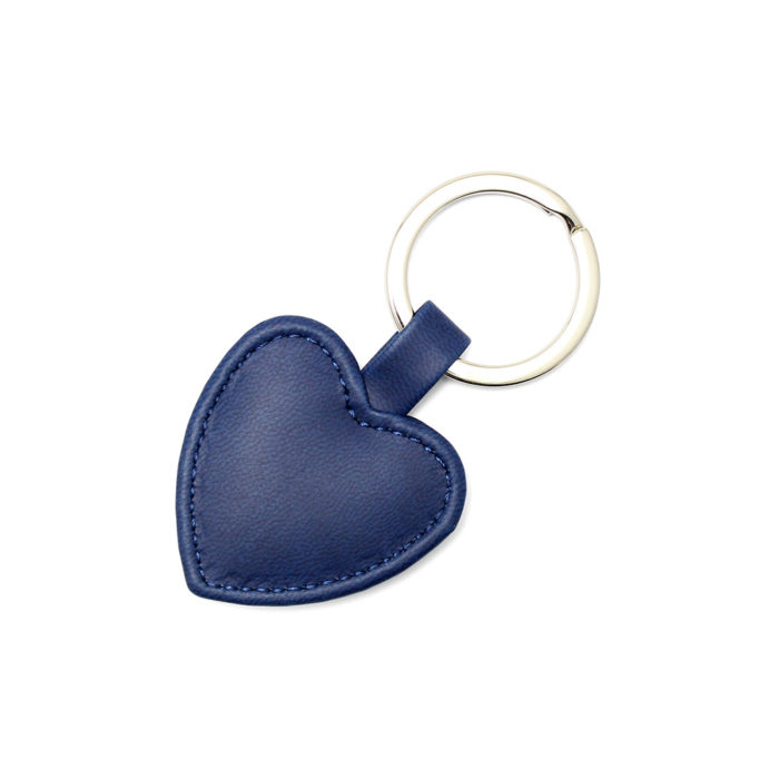 Marine Navy Heart Shaped Key Fob, in a soft touch vegan finish.