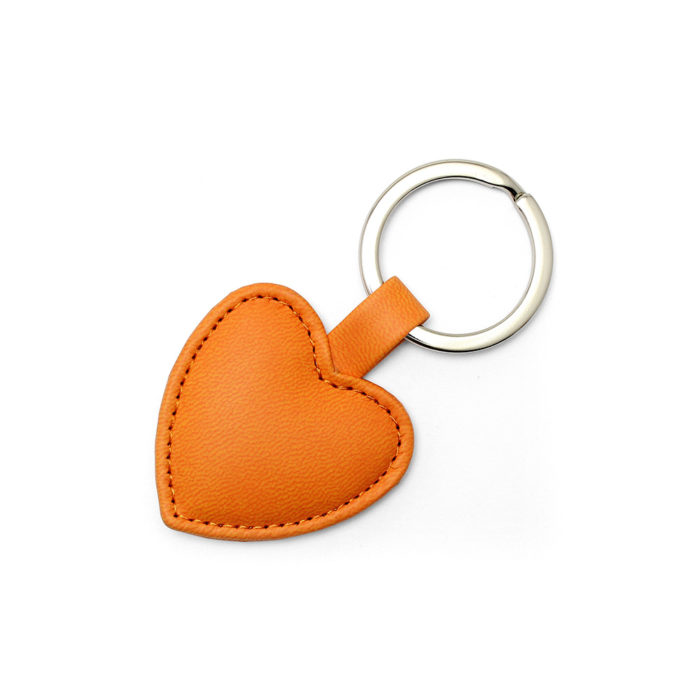Orange Heart Shaped Key Fob, in a soft touch vegan finish.