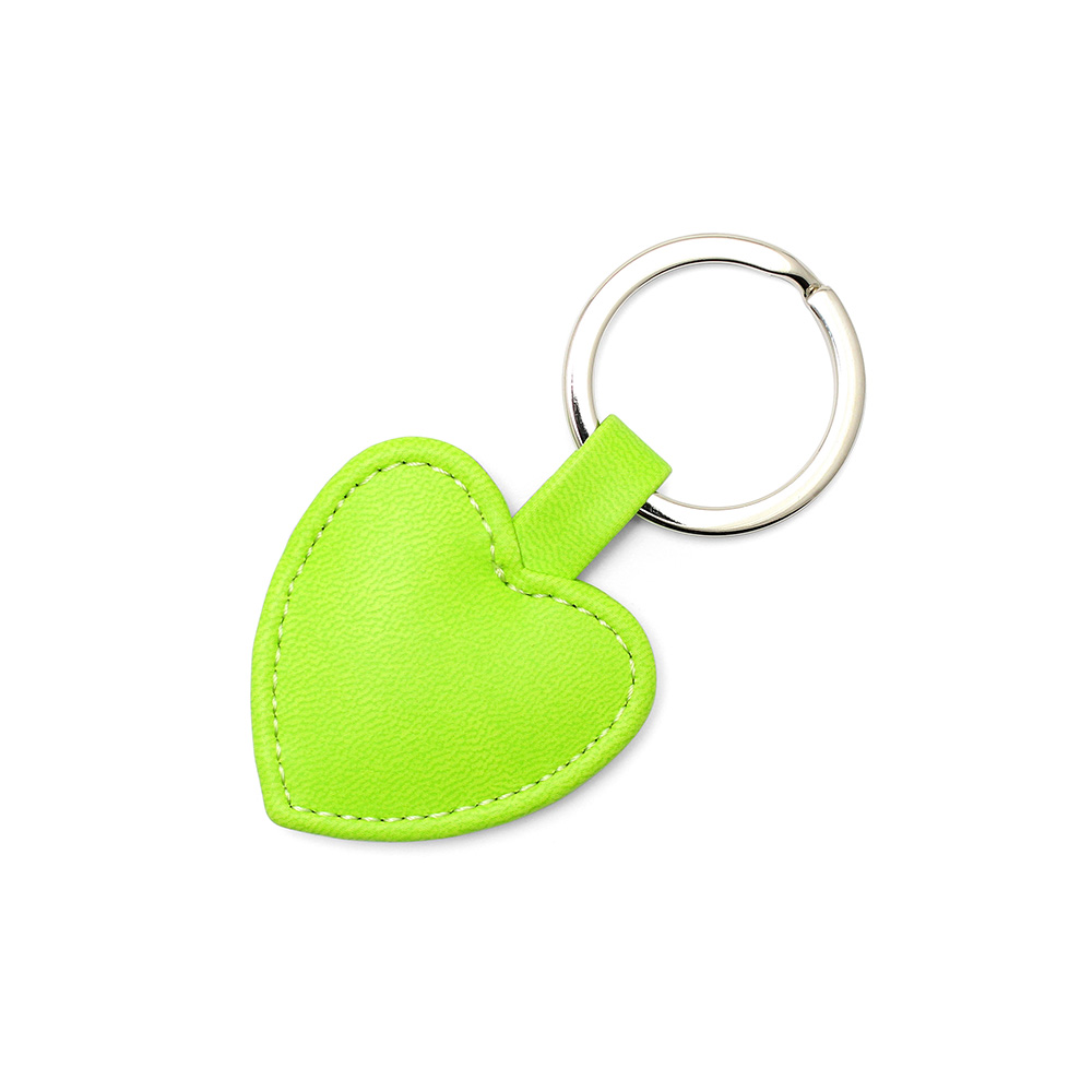 Pea Green Heart Shaped Key Fob, in a soft touch vegan finish.