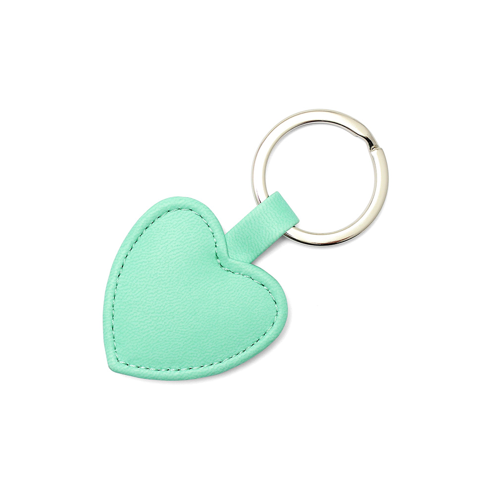 Peppermint Heart Shaped Key Fob, in a soft touch vegan finish.