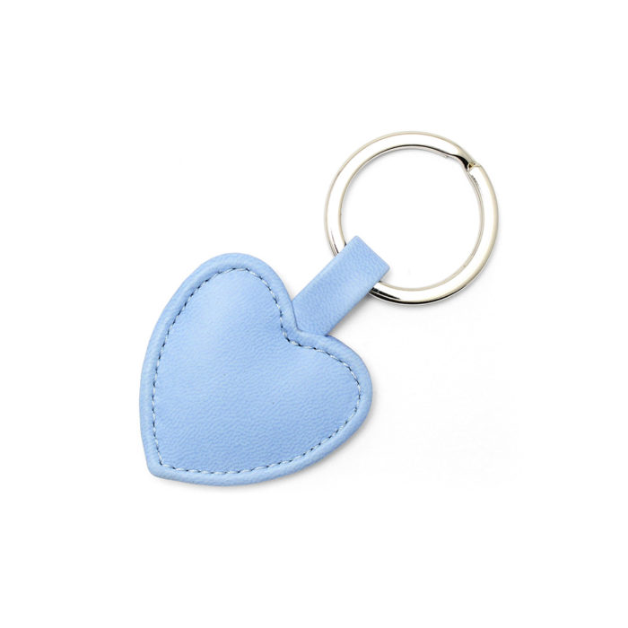 Powder Blue Heart Shaped Key Fob, in a soft touch vegan finish.