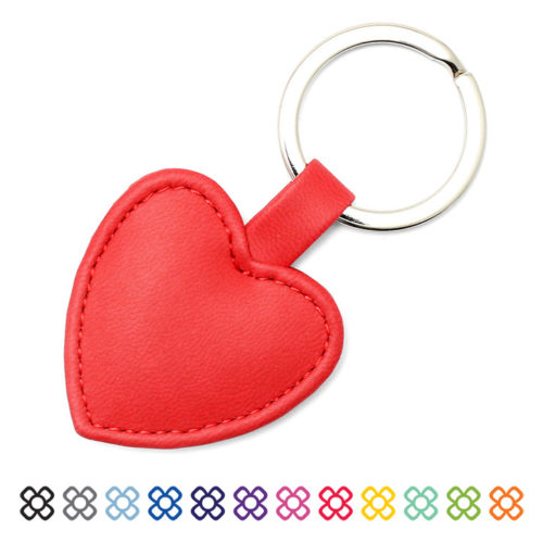 Heart Shaped Key Fob, in a soft touch vegan finish, 12 colours available.