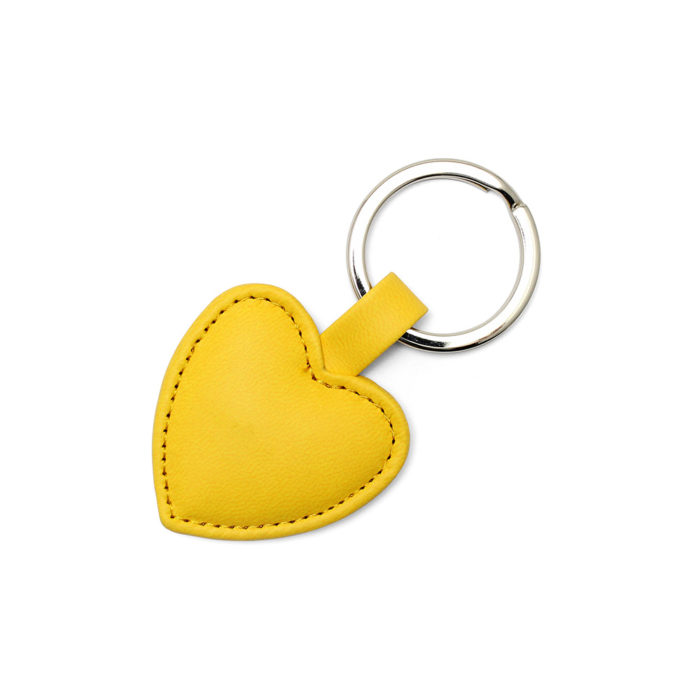 Sunflower Yellow Heart Shaped Key Fob, in a soft touch vegan finish.