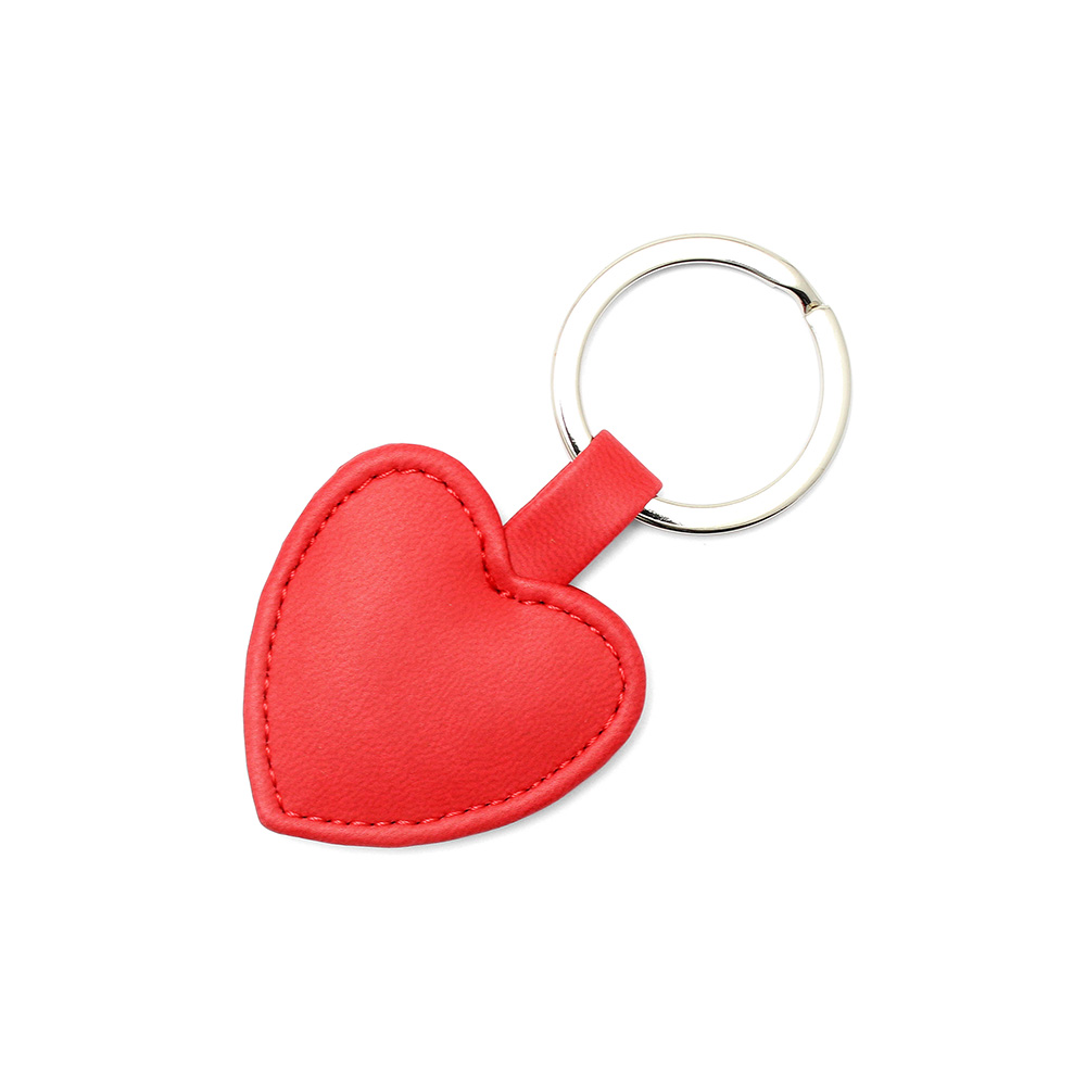Tomato Red Heart Shaped Key Fob, in a soft touch vegan finish.