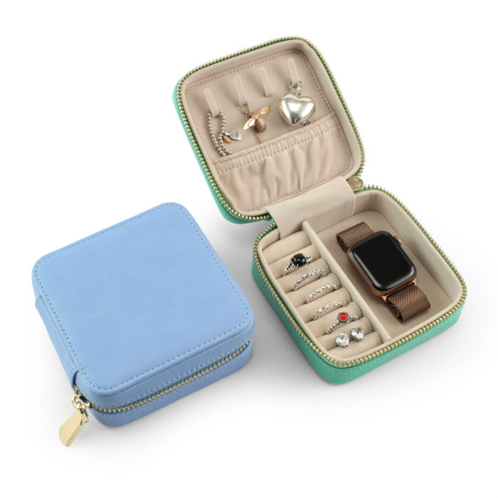Powder Blue Padded Jewellery Box ideal for travelling. Available in 7 colours, in our Vegan soft-touch material.